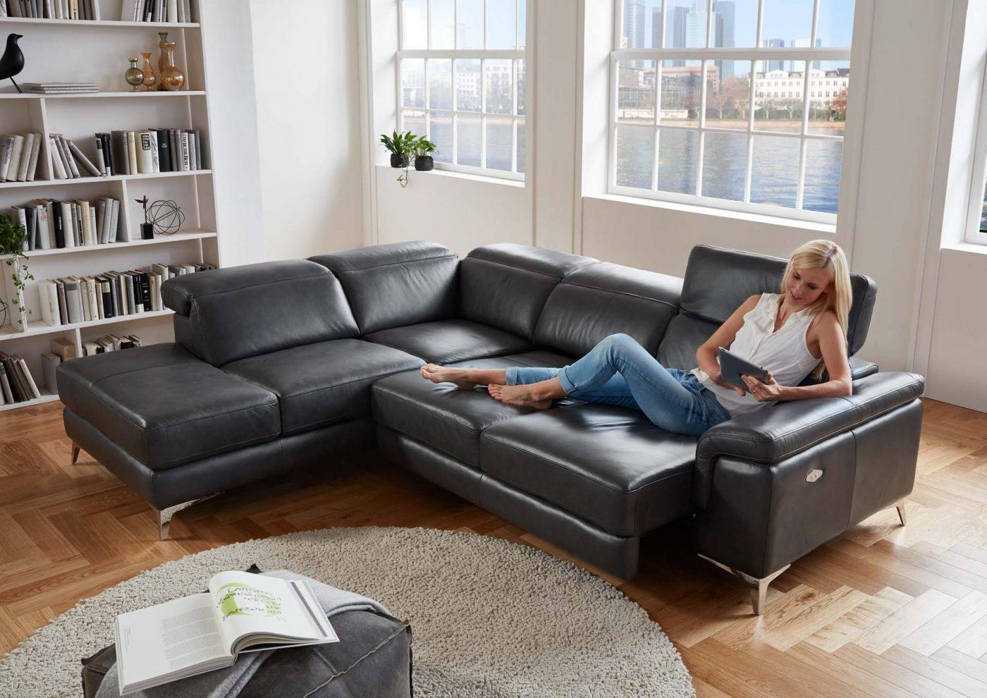 echt leder ecksofa martino inkl kopfteilfunktion. Black Bedroom Furniture Sets. Home Design Ideas
